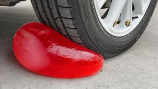Experiment Car vs Red Jelly In Balloon | Crushing Crunchy & Soft Things by Car | EvE