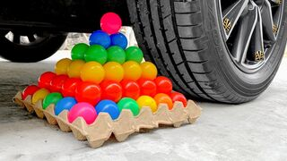 Experiment Car vs Tower Rainbow Ball vs Jelly | Crushing Crunchy & Soft Things by Car | EvE