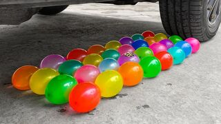 Experiment Car vs 32 Rainbow Water Balloons | Crushing Crunchy & Soft Things by Car | EvE