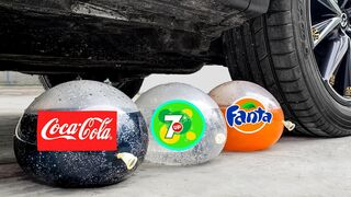 Experiment Car vs Coca Cola vs 7up vs Fanta in Balloon   Crushing Crunchy & Soft Things by Car   EvE