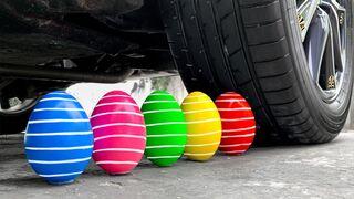 Experiment Car vs Rainbow Eggs | Crushing Crunchy & Soft Things by Car | EvE