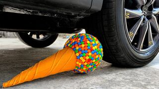 Experiment Car vs M&M Candy in Ice Cream | Crushing Crunchy & Soft Things by Car | EvE