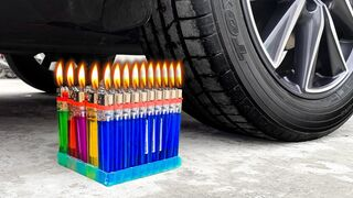 Experiment Car vs Lighters   Crushing Crunchy & Soft Things by Car   EvE