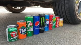 Experiment Car vs Coca Cola, Different Fanta, Mtn Dew, Pepsi, Sprite vs Mentos in Underground