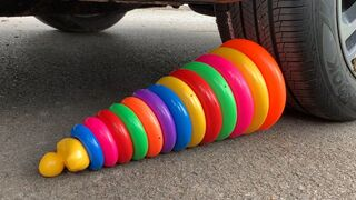 Experiment Car vs Rainbow Tower Ring | Crushing Crunchy & Soft Things by Car | Car US