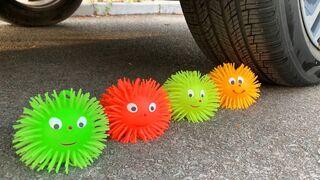 Experiment Car vs Doodles Ball, Water Balloons   Crushing Crunchy & Soft Things by Car   Car US