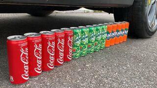 Experiment Car vs Coca Cola, Fanta, Mirinda Balloons   Crushing Crunchy & Soft Things by Car   07