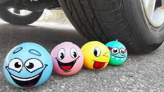 Crushing Crunchy & Soft Things by Car! Experiment Car vs Emoji Slime, Antistress, Squishy