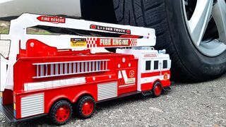 EXPERIMENT: Big Fire Truck Toy vs CAR. Crushing Crunchy & Soft Things by Car
