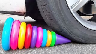 Crushing Crunchy & Soft Things by Car! EXPERIMENT: CAR vs RAINBOW TOWER RING