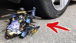 Crushing Crunchy & Soft Things by Car! - EXPERIMENT: Helicopter Toy vs Car