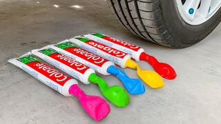 Crushing Crunchy & Soft Things by Car! Experiment: Car vs Toothpaste, Balloon
