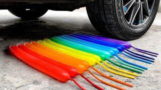 Crushing Crunchy & Soft Things by Car! EXPERIMENT: Car vs Coca Cola, Fanta, Mirinda Balloons S12