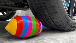 Crushing Crunchy & Soft Things by Car!- EXPERIMENT: CAR Vs Color Watermelon
