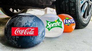 Crushing Crunchy & Soft Things by Car!  EXPERIMENT CAR Vs Coca Cola, Sprite, Fanta in Balloons