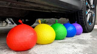 Crushing Crunchy & Soft Things by Car!- EXPERIMENT: CAR VS ORBEEZ IN BALLOONS