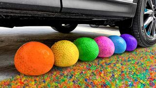 Crushing Crunchy & Soft Things by Car!- Experiment Car vs Orbeez Balloons