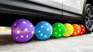 Crushing Crunchy & Soft Things by Car! Experiment - Car vs Balloons, Rooster
