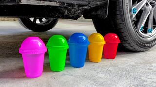 Crushing Crunchy & Soft Things by Car! Experiment Car vs Colored Plastic Cups
