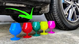 Crushing Crunchy & Soft Things by Car! Experiment Car vs Wine Glass