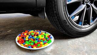 Crushing Crunchy & Soft Things by Car! EXPERIMENT CAR vs M&M Plate