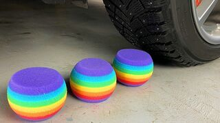 Experiment Car vs Rainbow Sponge! Experiments and Crunch things with car