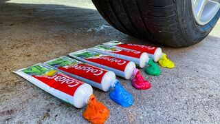 Experiment Car vs Rainbow Toothpaste! Experiments and Crunch things with car