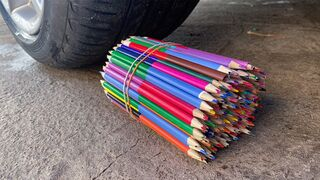 Crushing Crunchy & Soft Things by Car! Experiment: Car vs Rainbow Pencils