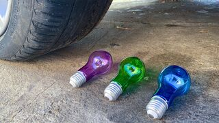 Experiment Car vs Color Light Bulbs! Experiments and Crunch things with car
