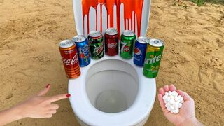 Experiment! Mentos vs Cola, Different Fanta, Mtn Dew, Dr Pepper, 7Up, Pepsi, Sprite in the Toilet