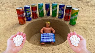 Experiment! Stretch Armstrong VS Coca Cola, Fanta, Sprite, Red Bull and Mentos In Underground | EaC