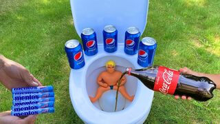 Experiment! - Stretch Armstrong VS Cola, Pepsi, Fanta, Sprite and Mentos in Toilet   EaC