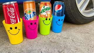 Crushing Crunchy & Soft Things by Car! Experiment: Car vs Cola, Fanta, Mirinda, Pepsi Balloons