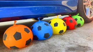 Crushing Crunchy & Soft Things by Car! EXPERIMENT Car vs Water Soccer  Balloons