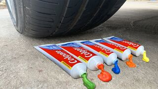 Experiment Car vs Rainbow Toothpaste and Balloons - Crushing Crunchy & Soft Things by Car!