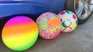 Experiment Car vs Colored Balloons! Crushing Crunchy & Soft Things by Car