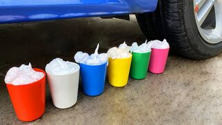 Experiment Car vs Rainbow Сups with Foam! Crushing Crunchy & Soft Things by Car