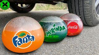 Crushing Crunchy & Soft Things by Car! All EXPERIMENT Fanta, Mirinda, Coca Cola Balloons vs Car #238