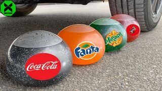 Crushing Crunchy & Soft Things by Car!- Experiment: Car vs Sting, Fanta, Mirinda, Coca Cola