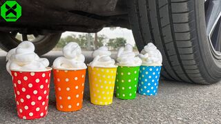 Crushing Crunchy & Soft Things by Car!- Experiment: Car vs Colored Plastic Cups #3