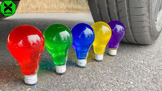 Crushing Crunchy & Soft Things by Car!- Experiment: Car vs Jelly in Light Bulb, Cake