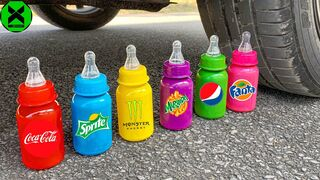 Crushing Crunchy & Soft Things by Car!- Experiment: Car vs Milk Bottle, Fruits, Candy Toys