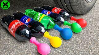 Crushing Crunchy & Soft Things by Car!- Experiment Car vs Coca, Pepsi, Sprite, Mirinda & Balloons