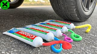 Crushing Crunchy & Soft Things by Car!- Experiment: Car vs Toothpaste and Fruits, Balloons Toys