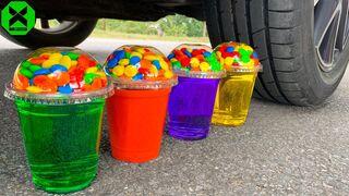 Crushing Crunchy & Soft Things by Car!- Experiment Candy, Light Bulb, Balloons vs Car