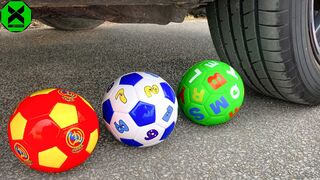 Crushing Crunchy & Soft Things By Car | Experiment: Car vs Different Soccer Balls