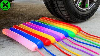 Crushing Crunchy & Soft Things By Car | Experiment: Car vs Color Long Balloons, Fanta