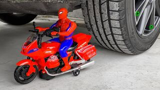 Crushing Crunchy & Soft Things by Car!- Experiment Car vs Spiderman Toy