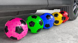 Crushing Crunchy & Soft Things By Car   Experiment: Car vs Rainbow Color Ball