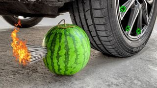 Crushing Crunchy & Soft Things by Car!- Experiment: Car vs Watermelon and Fireworks